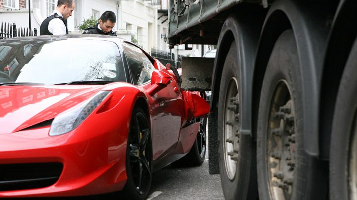 Ouch! Lorry Wedged in the Side of a £170,000 Ferrari