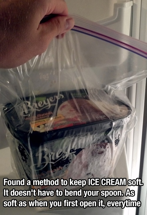 Keep Ice Cream soft in a bag