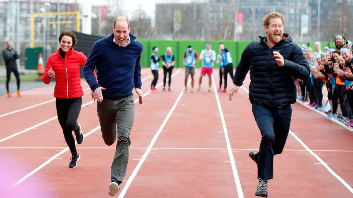 Kate, William and Harry extremely competitively in the race