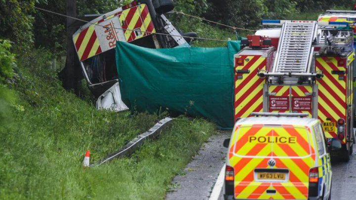 3 Killed As Works Van Flips In Horror A38 Crash During Storms
