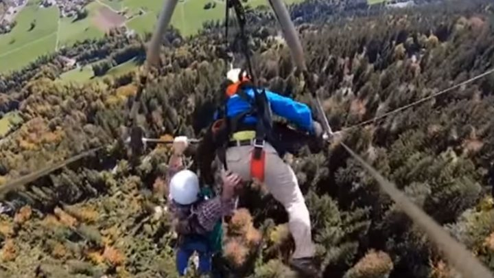 Pilot forgets to strap in first-time hang glider in this heart-stopping footage