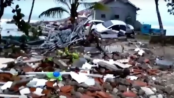 Indonesia tsunami 222 dead 843 injured and many missing footage shows the devastation