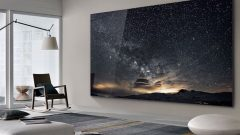 "Called ""The Wall,"" the Samsung TV uses a technology called micro LED, which creates a brighter image using less energy than current televisions. (Samsung/CNN)"
