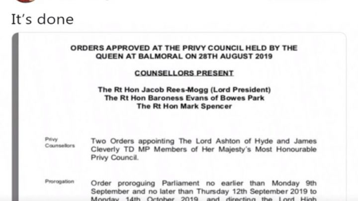Proroguing of Parliament agreed by the Queen – Borris counteracts the opposition trying to stop the democratic vote of the people